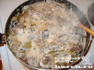 kurinaya pechen tushenaya s baklazhanami v smetane 08 Куриная печень, тушеная с баклажанами в сметане
