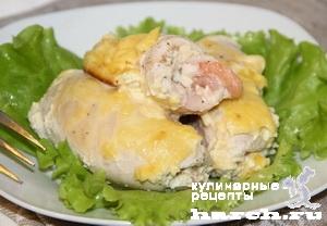 Куриные рулетики с креветками под сыром