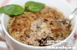 Куриное суфле с печенью и грибами