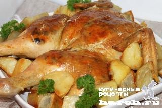 Курочка, фаршированная грибами и сыром