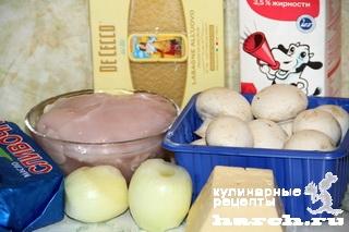 Лазанья с курицей и грибами