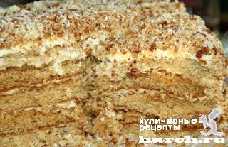 """Медовый торт с творожным кремом """"Пуховик"""""""