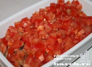 Молоки рыб, запеченные с помидорами под сыром