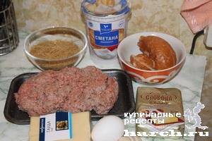 Мясные оладьи под сырно-вермишелевой шапкой