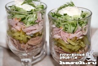 """Мясной салат-коктейль с огурцом """"Треф"""""""