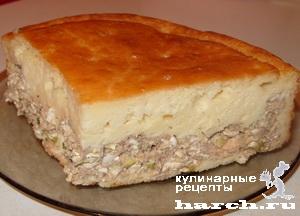 Наливной пирог с консервированной рыбой