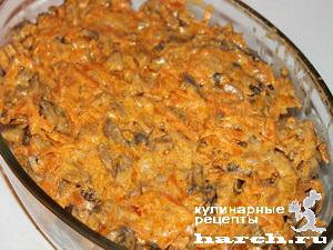 Печеночники с рисом под грибным соусом