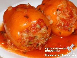 рецепт фаршированного перца с овощами и рисом