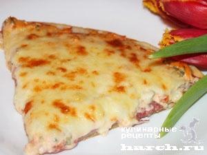 Пицца слоеная с помидорами и салями