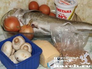Рыба, запеченная с гречневой кашей и грибами по-суздальски