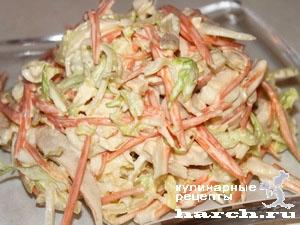 Салат из белокочанной капусты с кальмаром