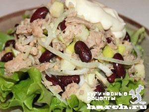 с салат фото рецепт из фасоли тунца и