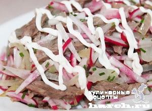 Салат из говядины с редисом Мужские слезы