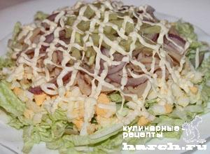 Салат из кальмаров с китайской капустой рецепт очень вкусный
