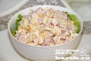 Салат с колбасой и ананасом рецепт с