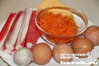 Салат из крабовых палочек с корейской морковью Валерия
