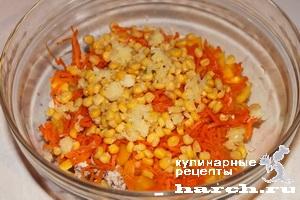 Салаты из кукурузы и болгарского перца и корейской моркови