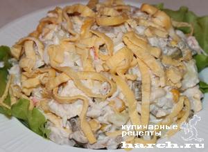 Салат из куриной грудки с крабовыми палочками