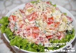 Салат из малосольной семги с картофелем и помидорами Русские традиции