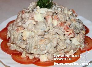 """Салат из печени трески с фасолью и грибами """"Море"""""""
