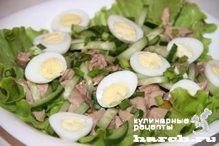 Салат из печени трески с зеленым огурцом