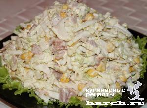 """Салат из пекинской капусты с копченой курицей """"Курьер"""""""