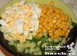 салат с кукурузой и свежими огурцами рецепт простой