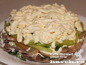 Салат из языка с сыром и свежим огурцом Графиня