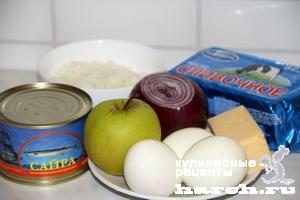 Салат с консервированной рыбой Старомосковский