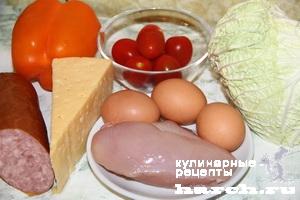 Салат с курицей, ветчиной и пекинкой