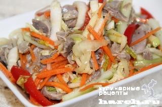 Салат с куриными желудками по-корейски