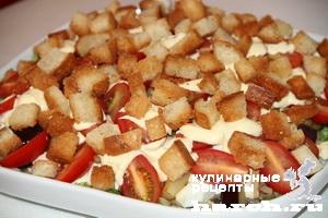 Салат с куриной печенью и баклажанами