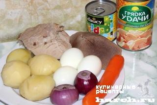 """Салат с мясом и грибами """"Украина"""""""