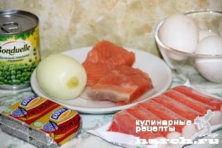 Салат с семгой и крабовыми палочками