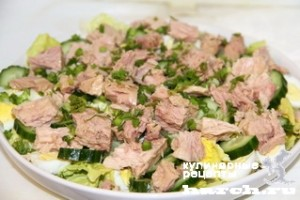 Простой салат с тунцом консервированным рецепт с пошаговым простой рецепт