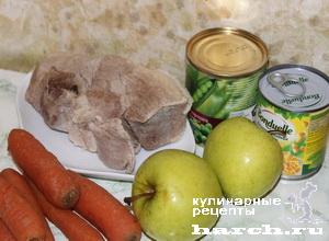 Салат с вареной свининой Купчиха