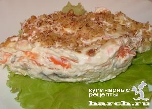 """Салат-торт из курицы с грецкими орехами """"Сказка"""""""