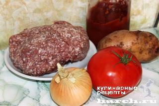 Шницели, запеченные с картофелем и помидорами по-турецки