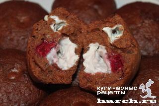 shokoladnie keksi s tvorogom i vishney 12 Шоколадные кексы с творогом и вишней