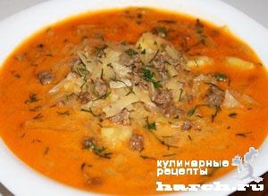Сырный суп с капустой и мясным фаршем