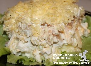 Слоеный салат с сельдью