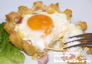 """Тарталетки с сыром, ветчиной и яйцом """"Утренние"""""""