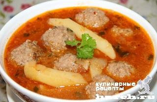 """Томатный суп с тефтелями """"Альбондигас"""""""