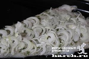 Треска, запеченная с грибами по королевски