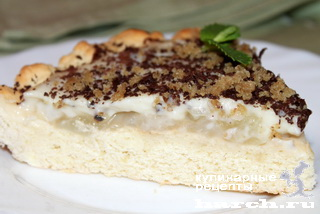 Творожно-песочный пирог с грушами и кокосовым кремом