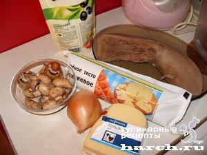 Язык с грибами в тесте
