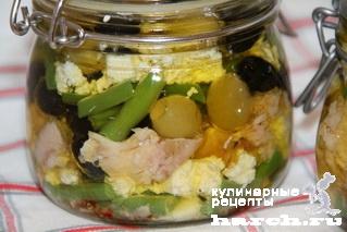 Закуска из брынзы с тунцом и стручковой фасолью