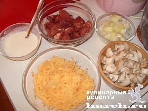 zhulen is kurinoy pecheni s gribami na skovorode 01 Жюльен из куриной печени с грибами на сковороде