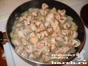 zhulen is kurinoy pecheni s gribami na skovorode 05 Жюльен из куриной печени с грибами на сковороде